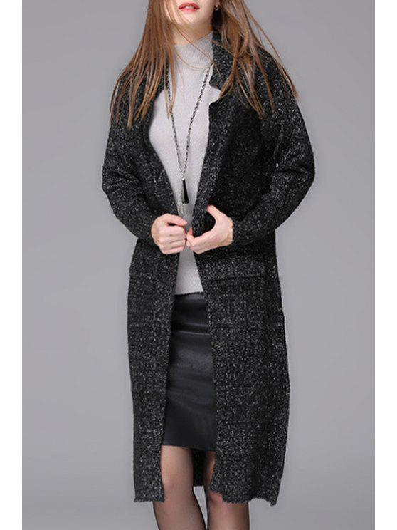 best Notched Collar Mixed Color Long Cardigan - BLACK ONE SIZE(FIT SIZE XS TO M)