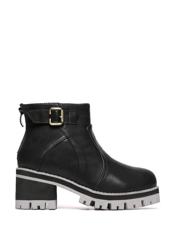 women Solid Color Chunky Heel Platform Short Boots - BLACK 35