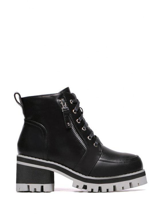 shop Lacing Platform Chunky Heel Short Boots - BLACK 35