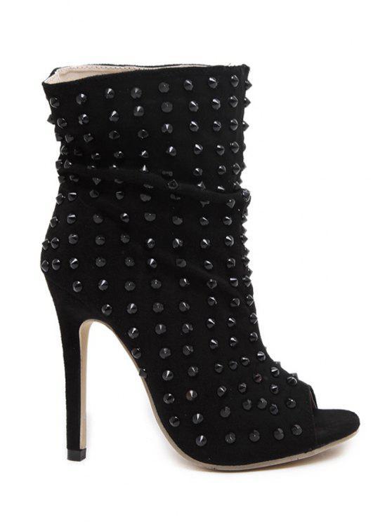 buy Peep Toe Black Rivet High Heel Boots - BLACK 35