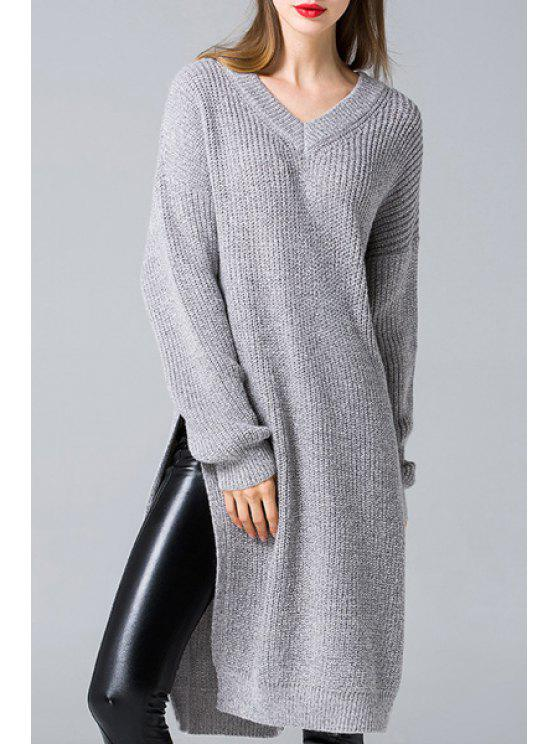 unique Side Slit V Neck Sweater Dress - GRAY ONE SIZE(FIT SIZE XS TO M)