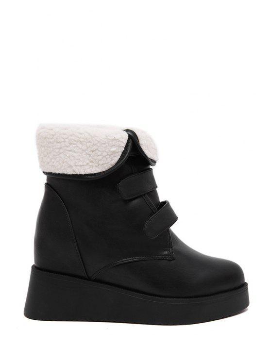 best Fold Over Platform Short Boots - BLACK 35