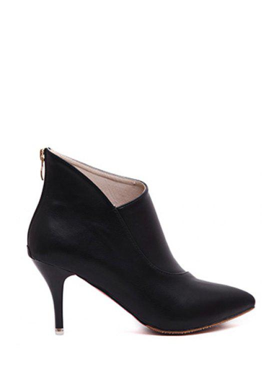 fancy Pointed Toe Zipper Solid Color  Ankle Boots - BLACK 34
