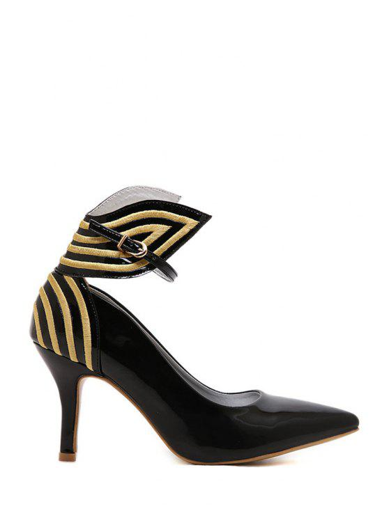 best Striped Pointed Toe Ankle Strap Pumps - BLACK 35