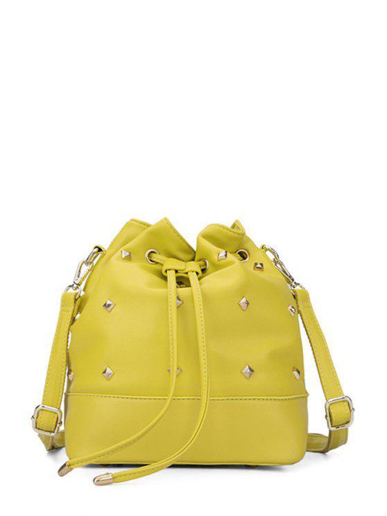 women's Rivet Solid Color String Crossbody Bag - YELLOW