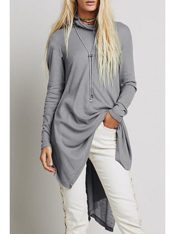 ladies Turtle Neck Side Slit Grey Dress - LIGHT GRAY S