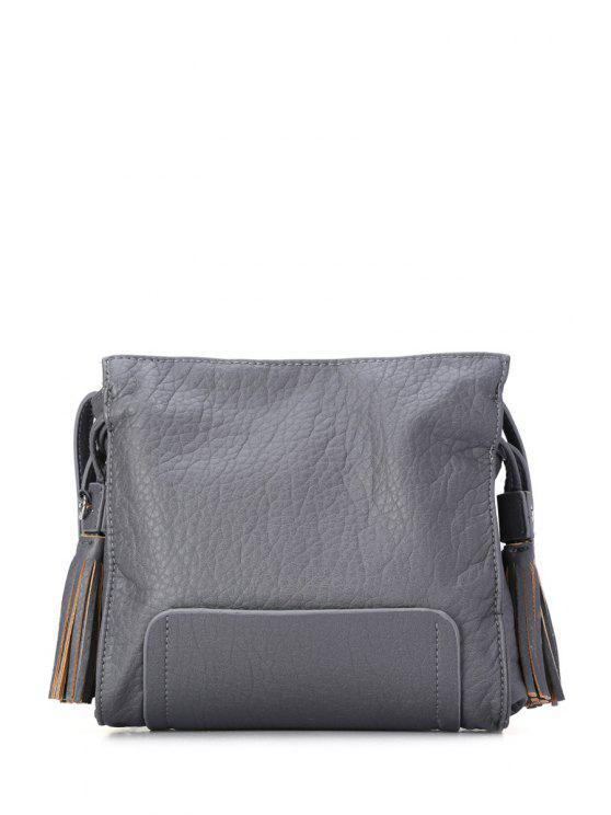 unique Tassel Embossing Solid Color Crossbody Bag - GRAY