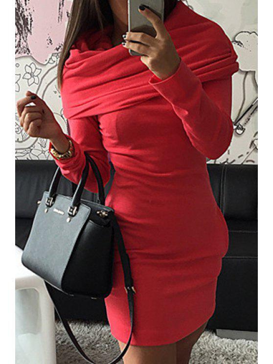 women's Hooded Pocket Design Bodycon Dress - RED L