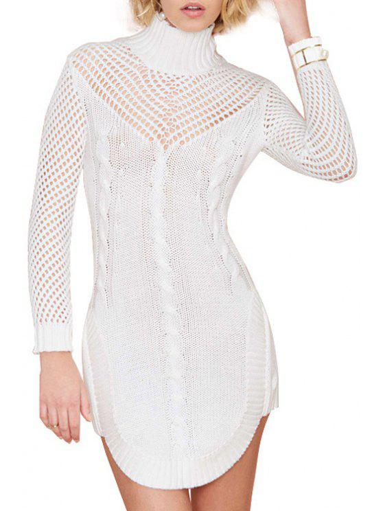 womens Turtle Neck Hollow Out Sweater Dress - WHITE M