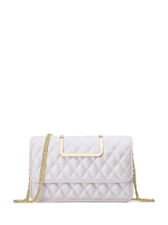 hot Checked Chains Metal Crossbody Bag - WHITE