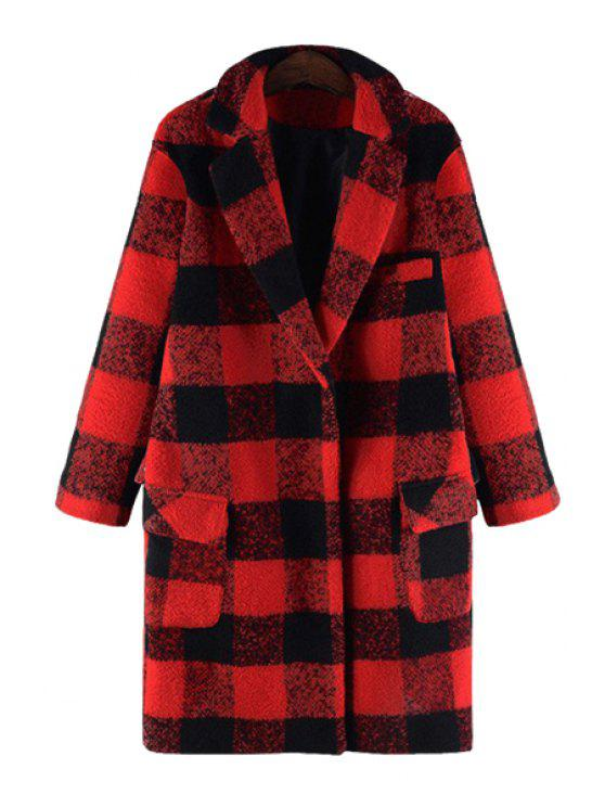 affordable Checked Turn-Down Collar Woolen Coat - RED XL