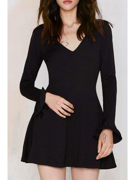 trendy Solid Color Plunging Neck Butterfly Sleeves Dress - BLACK S