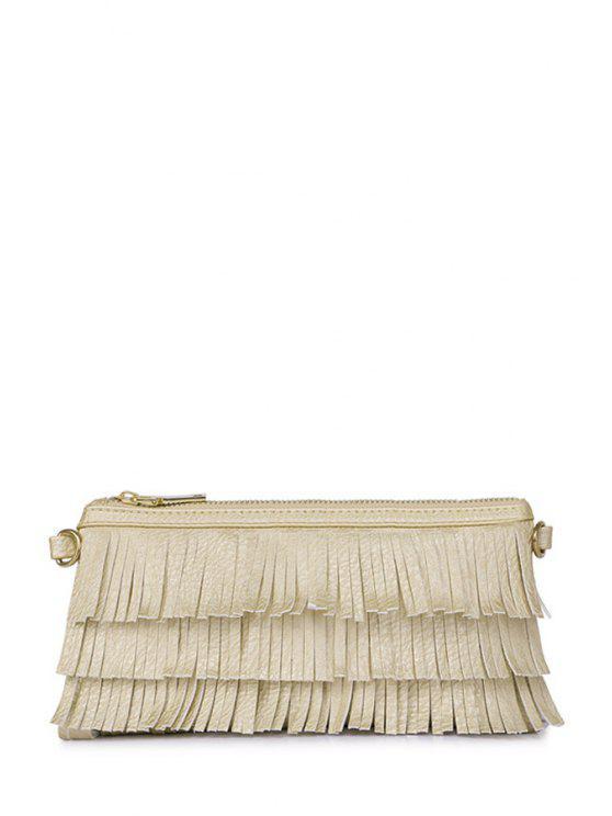 latest Fringe Zipper Solid Color Crossbody Bag - GOLDEN