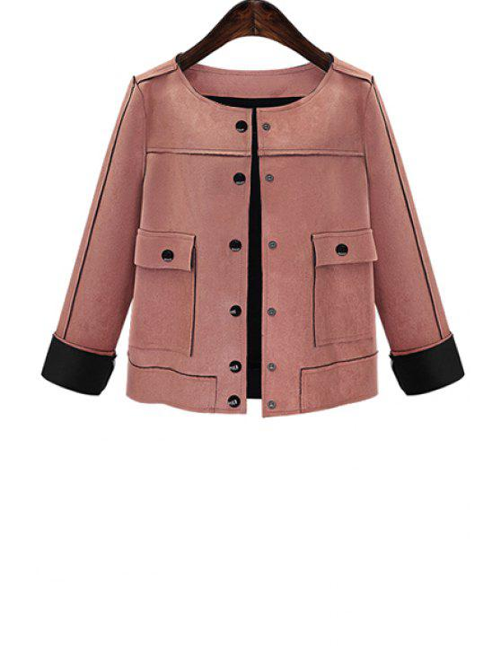 lady Solid Color Suede Round Collar Long Sleeves Jacket - PINK XL