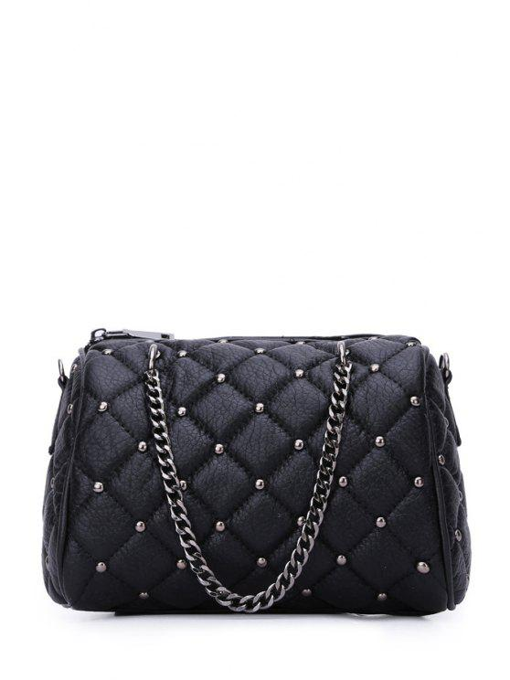 trendy Chains Checked Rivet Tote Bag - BLACK