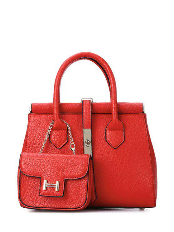 chic Hasp Metal Pure Color Tote Bag - RED