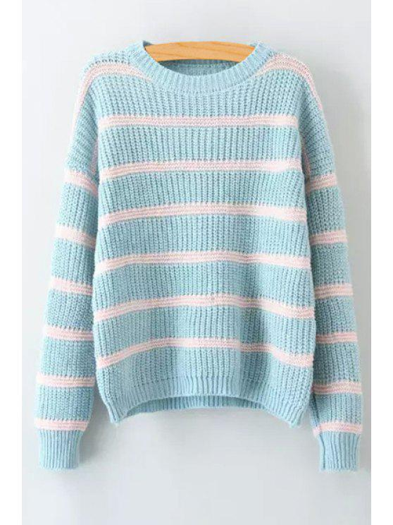 affordable Stripes Round Collar Long Sleeve Jumper - BLUE ONE SIZE(FIT SIZE XS TO M)