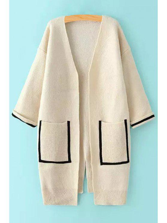 latest Back Slit Pocket Long Sleeves Cardigan - WHITE ONE SIZE(FIT SIZE XS TO M)