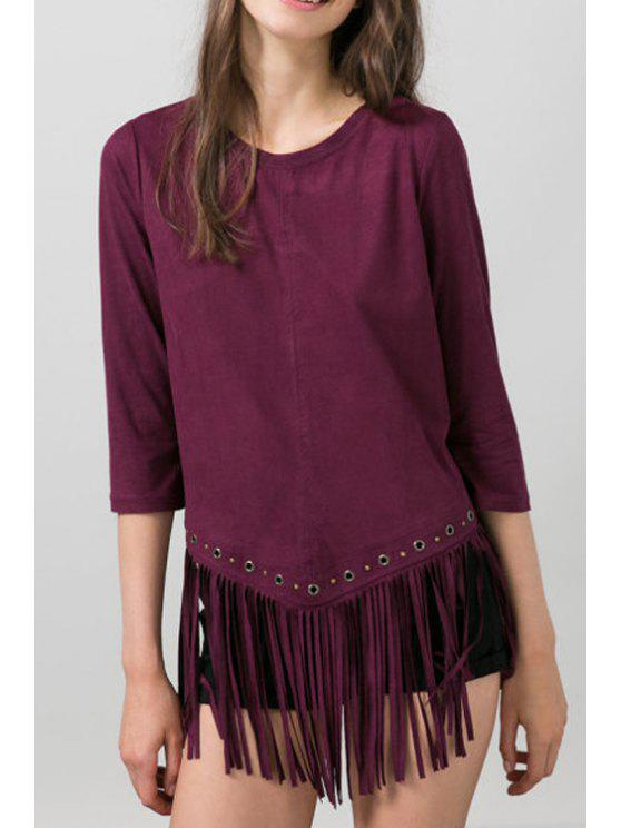 outfits Wine Red Faux Suede 3/4 Sleeve T-Shirt - WINE RED S