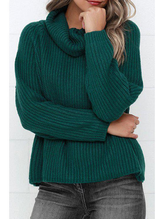 women's Turtle Neck Loose Fit Green Sweater - GREEN ONE SIZE(FIT SIZE XS TO M)