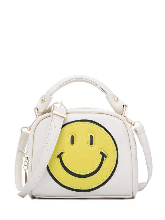 lady Smiling Face Stitching Zipper Crossbody Bag - OFF-WHITE