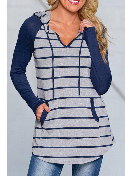 women Blue Striped Long Sleeve Pullover Hoodie - BLUE M