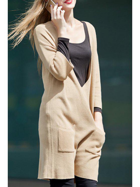 trendy Deep V Neck Plus Size Khaki Sweater - KHAKI XL