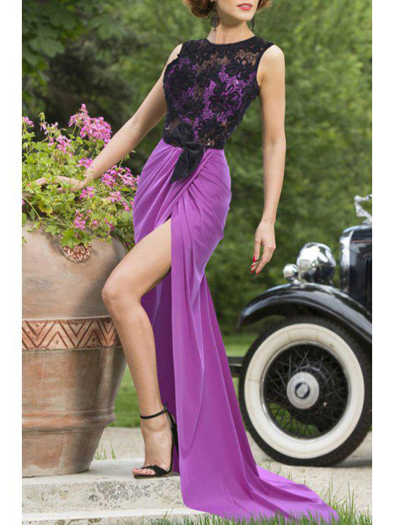 trendy Lace Spliced Sleeveless Backless Maxi Dress - PURPLE M