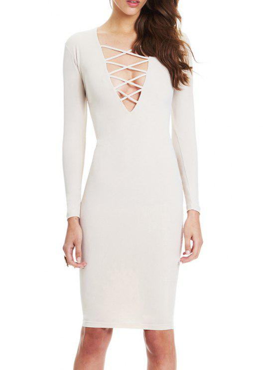 womens Bodycon Plunging Neck Long Sleeve Midi Dress - OFF-WHITE XL