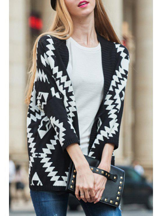 sale Open Front 3/4 Sleeve Jacquard Cardigan - BLACK XL