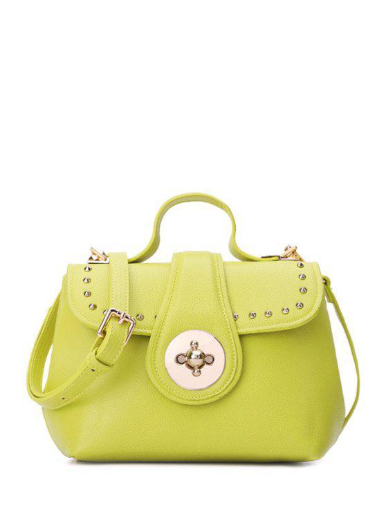 affordable Rivet Hasp Candy Color Tote Bag - LEMON YELLOW