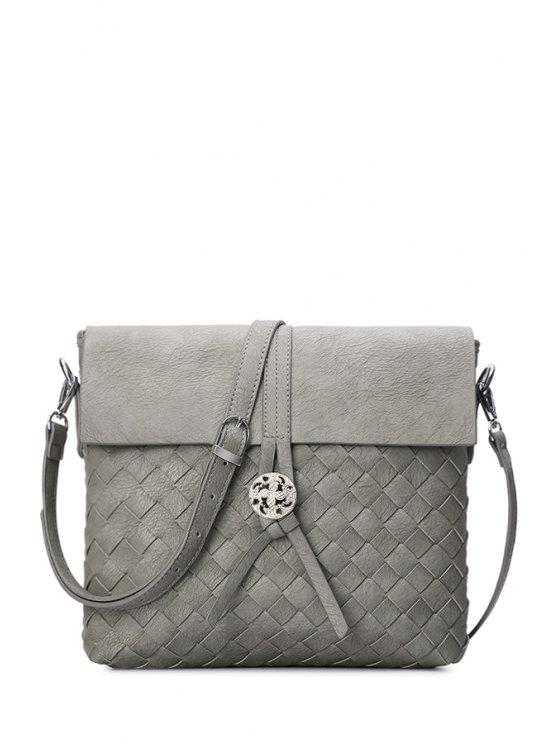 hot Weaving Cover Solid Color Crossbody Bag - LIGHT GRAY