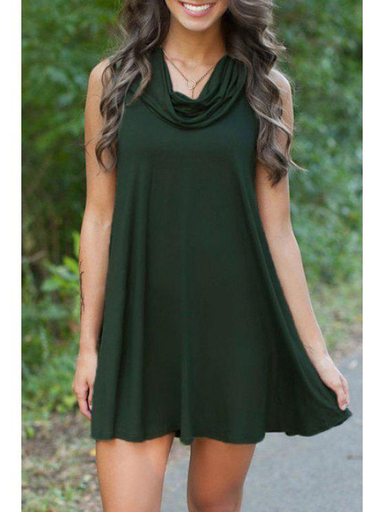 chic Solid Color Loose Fitting Heaps Collar Sleeveless Dress - GREEN ONE SIZE(FIT SIZE XS TO M)