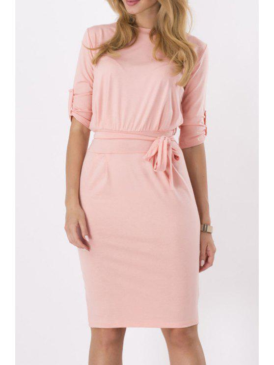 chic Pure Color Round Neck Half Sleeve Dress - PINK S