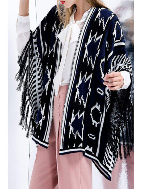 lady Collarless Fringed Jacquard Cardigan - BLUE ONE SIZE(FIT SIZE XS TO M)