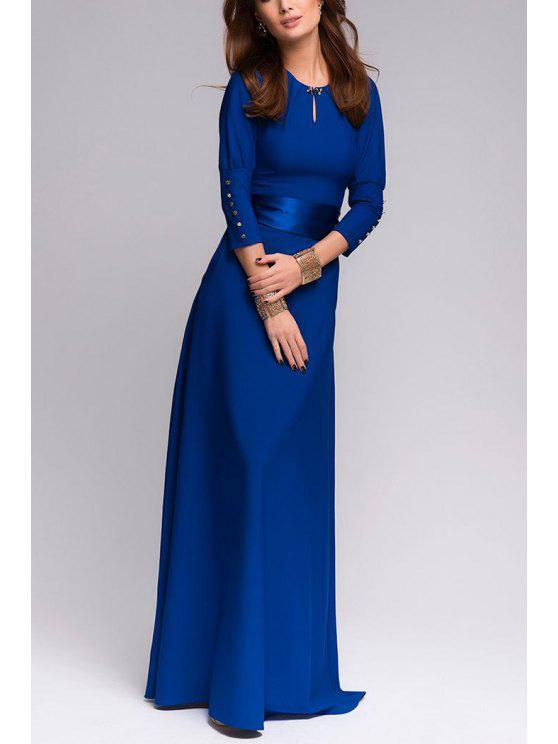 فستان ماكسي ثلاثة أرباع طول الأكمام بلون الصلبة قطع - الياقوت الأزرق M
