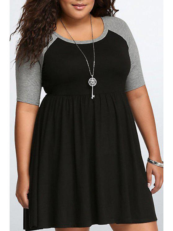 ladies Black Gray Scoop Neck Short Sleeve Dress - BLACK XL