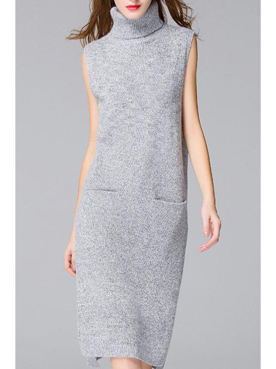 women Side Slit Solid Color Pockets Sweater Dress - GRAY ONE SIZE(FIT SIZE XS TO M)