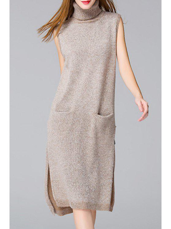 ladies Side Slit Solid Color Pockets Sweater Dress - APRICOT ONE SIZE(FIT SIZE XS TO M)