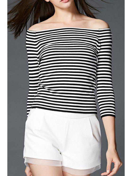 shop Striped Off The Shoulder 3/4  Sleeves T-Shirt - BLACK M