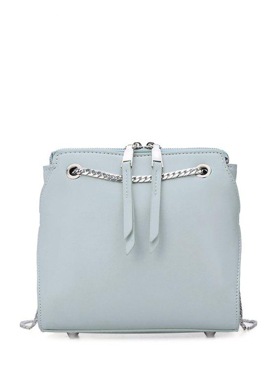 chic Chains Solid Color Fringe Crossbody Bag - BLUE