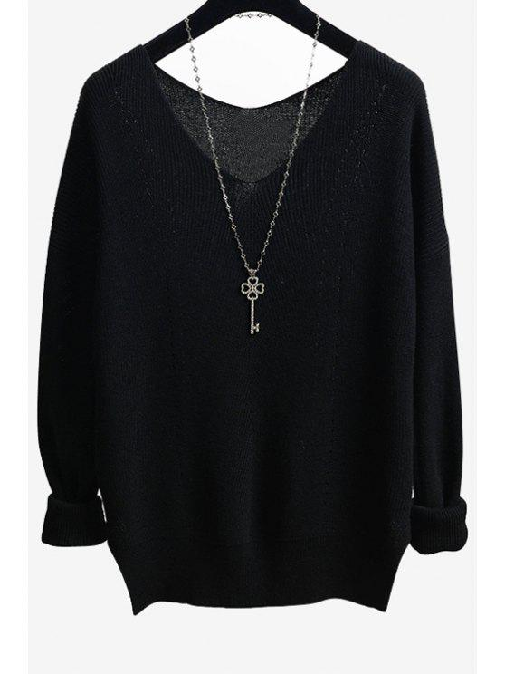 Solid Color Side Slit V-Neck Long Sleeves Sweater BLACK: Sweaters ...