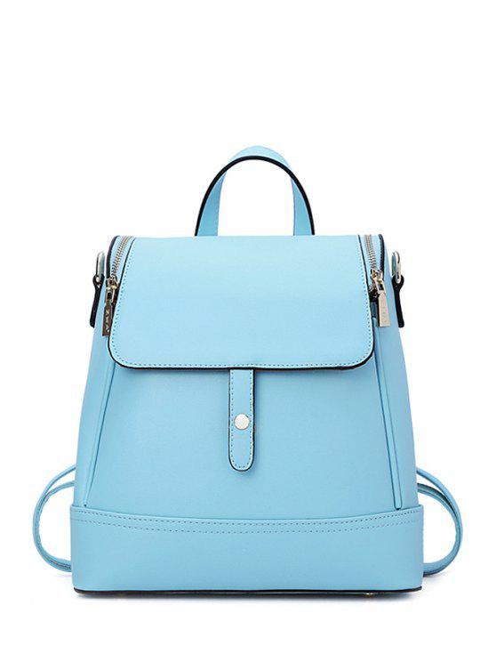 hot Cover Zipper Candy Color Satchel - BLUE