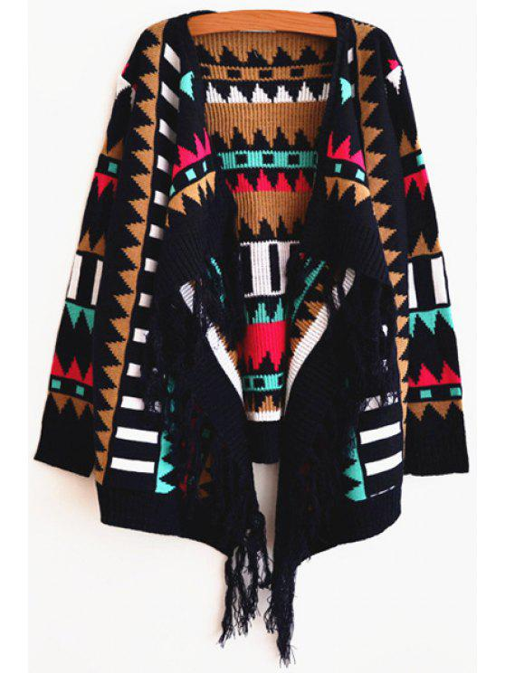 outfit Open Front Jacquard Fringed Cardigan - COLORMIX S