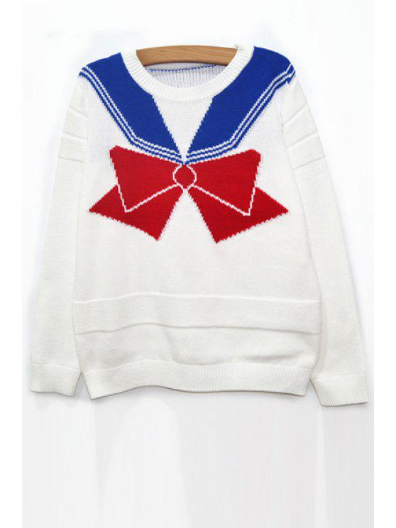 shops Round Neck Bowknot Jumper - WHITE ONE SIZE(FIT SIZE XS TO M)