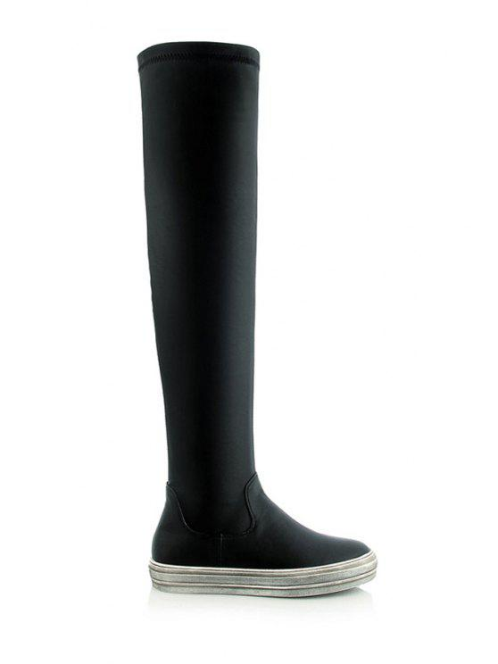 new Platform Solid Color Thigh High Boots - BLACK 35