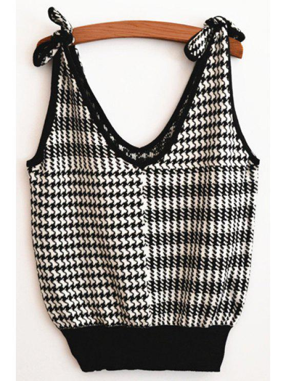 latest V Neck Sleeveless Tie-Up Sweater - WHITE AND BLACK ONE SIZE(FIT SIZE XS TO M)
