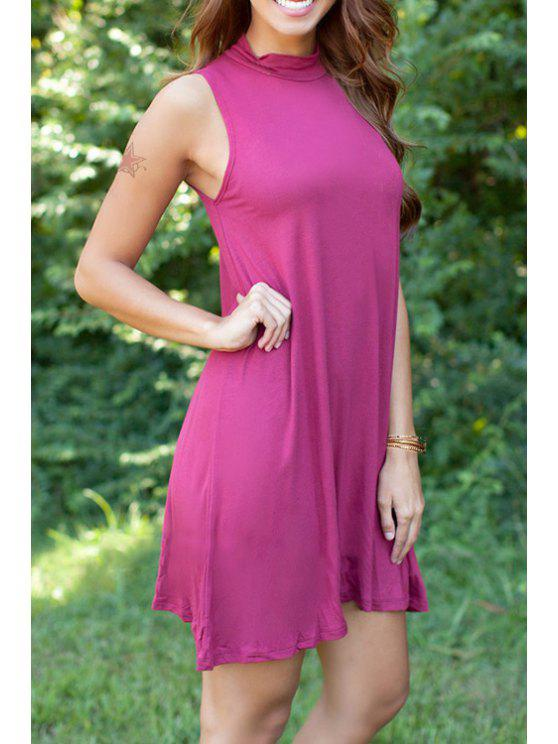 online Pure Color Stand Neck Sleeveless Dress - WINE RED S