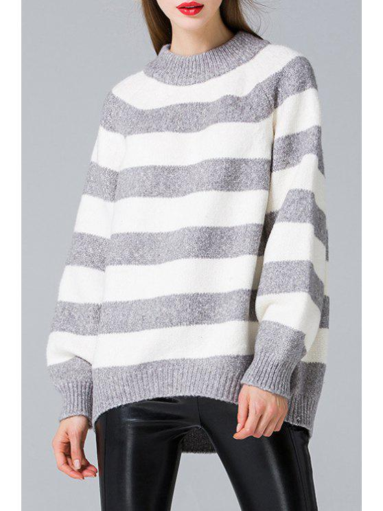lady Striped Thicken Round Neck Long Sleeves Sweater - GREY AND WHITE ONE SIZE(FIT SIZE XS TO M)