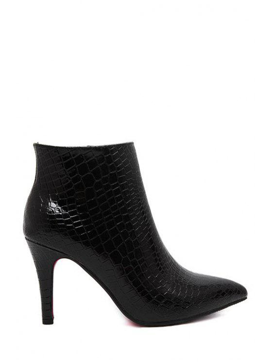 hot Embossing Solid Color Pointed Toe Ankle Boots - BLACK 34